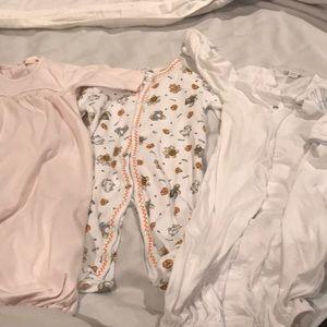 Three piece kissy kissy gowns and onesie